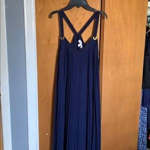 Pleated navy Michael Kors maxi dress